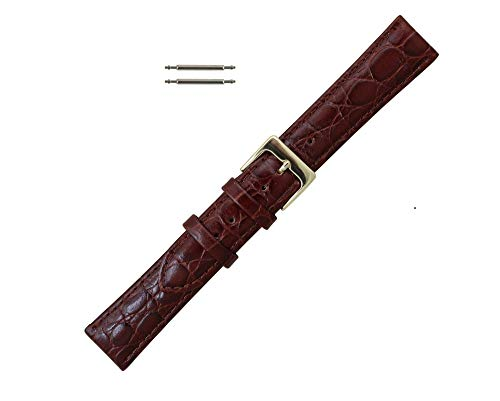 18mm Brown Leather Croco Grain Watchband Replacement ()