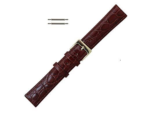 18mm Brown Leather Croco Grain Watchband ()