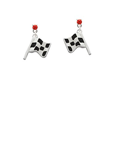 Checkered Race Flag Red Crystal Post -