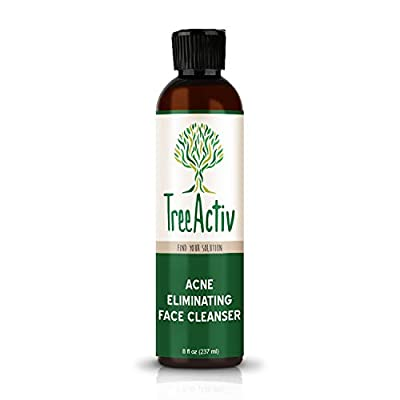 TreeActiv Acne Eliminating Face Cleanser | Natural Facial Treatment Cleansing Skin Wash | Castile Soap | Sulfur | Charcoal | Vitamin C | Peppermint | Men Women Teens | Sensitive | Unscented | 8 fl oz by TreeActiv