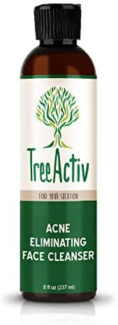 TreeActiv Acne Eliminating Face Cleanser, Natural Facial Treatment Cleansing Skin Wash, Castile Soap, Sulfur, Charcoal, Vitamin C, Peppermint, Men Women Teens, Sensitive, Unscented, 8 fl oz