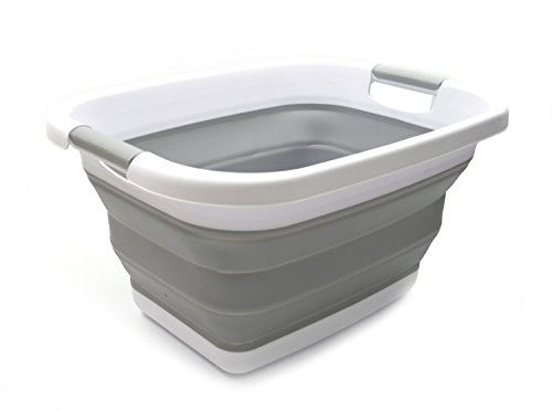 SAMMART 19.3x15x10 inches Small Size Collapsible Laundry Basket/Tub - Foldable Storage Container/Organizer - Portable Washing Bin (Grey)