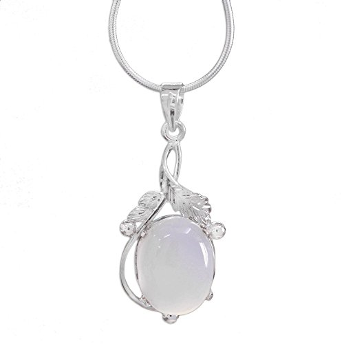 NOVICA .925 Sterling Silver Chalcedony Pendant Necklace, 15.5
