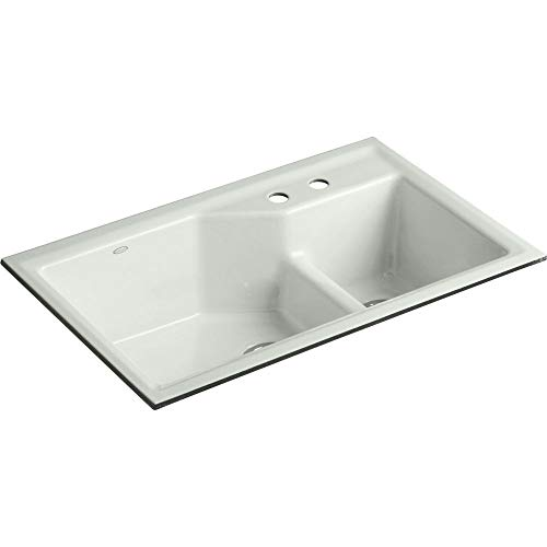 Kohler K-6411-2-FF Indio Undercounter Double Offset Basin Kitchen Sink with Two-Hole Faucet Drilling, Sea Salt