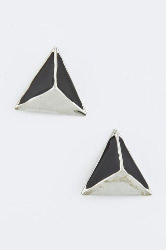 KARMAS CANVAS PYRAMID STUD EARRINGS (Black/Silver)