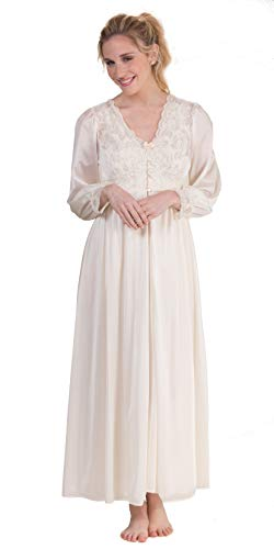 Shadowline Silhouette Long Nightgown/Robe Peignoir Set in Ivory (Small / 8-10, Ivory)