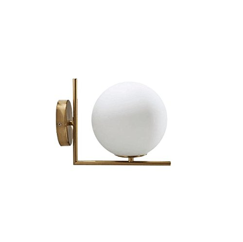 Vintage Modern Wall Sconce Wall Lamp Wall Light Solid Brass Fitting Fixture Ceiling Light White Globe Shade Dual ()
