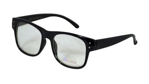 Retro Horned Rim Retro Classic Nerd Glasses Clear Lens (Square Black, Clear) -