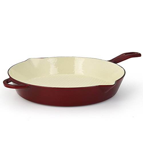Essenso Enameled Cast Iron Skillet Frying Saute Fry Pan, Enamel - Ceramic Coated, 11