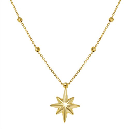 Starburst Pendant-Necklace in 14k Yellow Gold on an 18 in. Chain