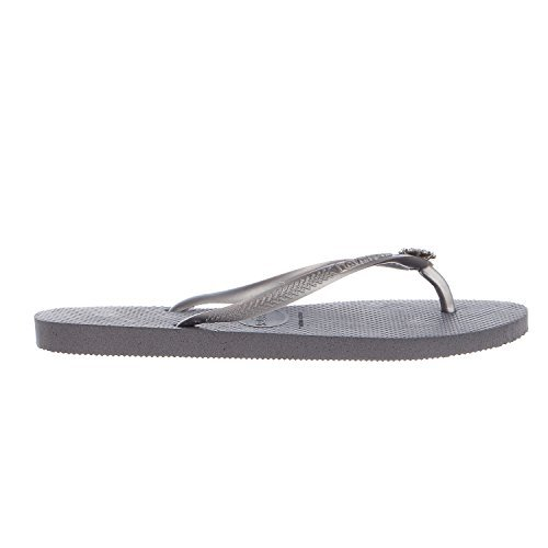 Havaianas Women's Slim Crystal Poem Sandal, Steel Grey/Bright Silver,37/38 BR (7-8 M US)