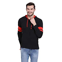 VIMAL JONNEY Cotton Black Full Sleeve Hoodie Tshirt for Men