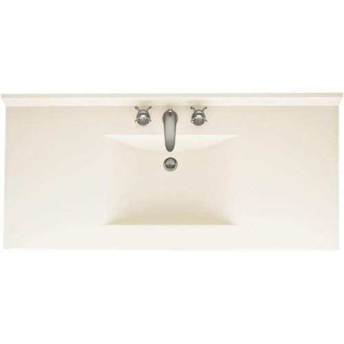Swanstone 542157 Contour Solid Surface Single-Bowl Vanity Top, 49-in L X 22-in H X 6.25-in H, Bisque