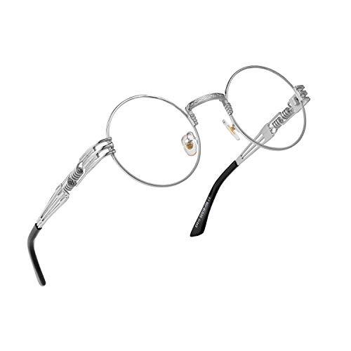 (RANHUU Steampunk Round Glasses for Men and Women John Lennon Glasses Quavo Circle Metal Frame Eyewear (Silver Frame/Clear Lens))