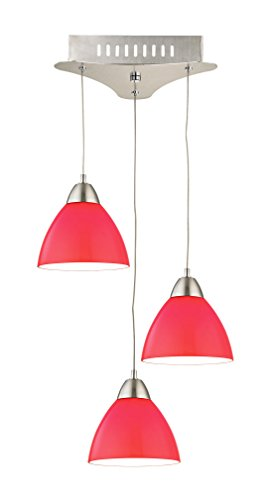 - Elk Lighting LCA303-11-16M Piatto 3 Light LED Pendant with Red Glass, Satin Nickel