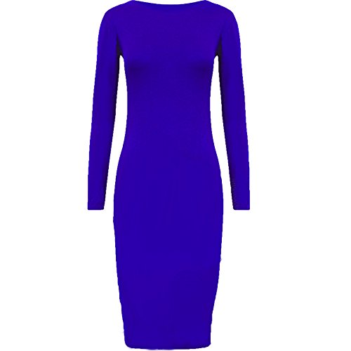 Oromiss para mujer Plain color Midi vestido pantorrilla elástico Jersey de manga larga Bodycon Celeb azul real