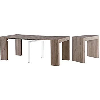 Extendable Space Saving Modern Dining Table, Transforms From A Console  Table Or Desk To A