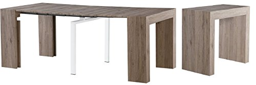 Minimax Decor Extendable Space Saving Modern Dining Table, Transforms from a Console Table or Desk to a Large Dining Table That Seats Up to Twelve
