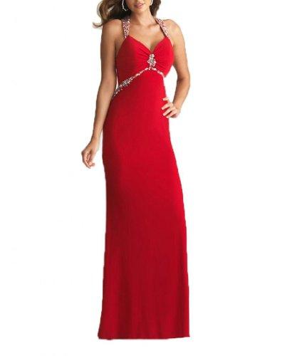 Abendkleider Dearta Linie Damen Schleppe Chiffon Pinsel Ausschnitt V Kleidungen Rot Etui Aermellos qqvwRO