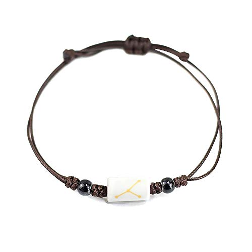 - MUZHE Brown Leather Twelve Constellation Hand Woven Leather Bracelet,Adjustable Wax Line Black White Ceramic Dangle Couple Bracelet for Boy Girls Birthday Gifts (Cancer-Girl)