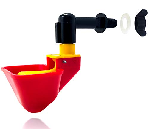 6 Pack NO PECK Automatic Poultry Watering Drinker Cups Float Style Gravity Feed Waterers Chicks Chicken Duck Quail (Hardware Included)