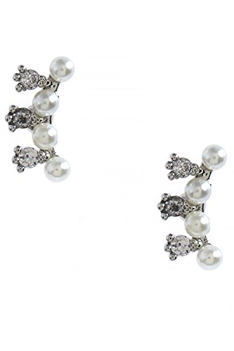 Princess Cut Diamond Huggy Earring (BAUBLES & CO CURVED MINI SEED PEARL CZ ACCENT STUD EARRINGS)