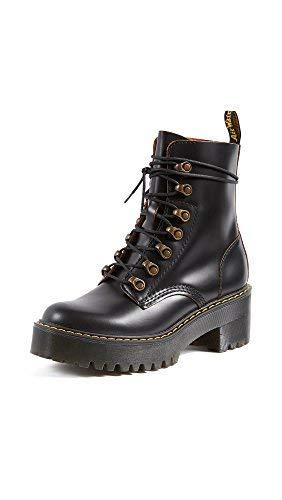 Dr. Martens Shoes Leona Boot, Black Vintage Smooth, 5 UK, Women's 7 US