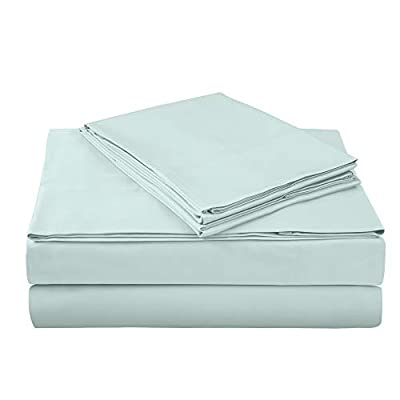 "400 Thread Count 100% Cotton Sheet Set, Aqua Queen Sheet Set, 4-Piece Long Staple Combed Pure Cotton Best Sheets for Bed, Breathable, Soft & Silky Sateen Weave Fits Mattress Upto 18"" deep Pocket - AXIA offers a 100% Long Staple Cotton Sheet Sets HIGHEST QUALITY BEST COTTON SHEETS: Authentic 400 thread count per square inch, 100% cotton fabric made from long staple fibre and compact yarn with Sateen weave to provide luxurious soft feel with lustre, elegance and comfort. These sheets are fade-resistant and ecofriendly. High quality color dyes for safety & long lasting color fastness; fully elasticized fitted sheet with deep pockets. Sizes - Flat sheet: 81"" x 96""; Fitted Sheet: 54""x 75"" + 15 "" deep pocket; 2 Pillow Cases: 20"" x 30"" (Standard Pillow Case):- 4 piece Luxury 400 TC sheet set include a flat sheet , fitted sheet and 2 pillow cases in various colour options - sheet-sets, bedroom-sheets-comforters, bedroom - 31ZImosR vL. SS400  -"