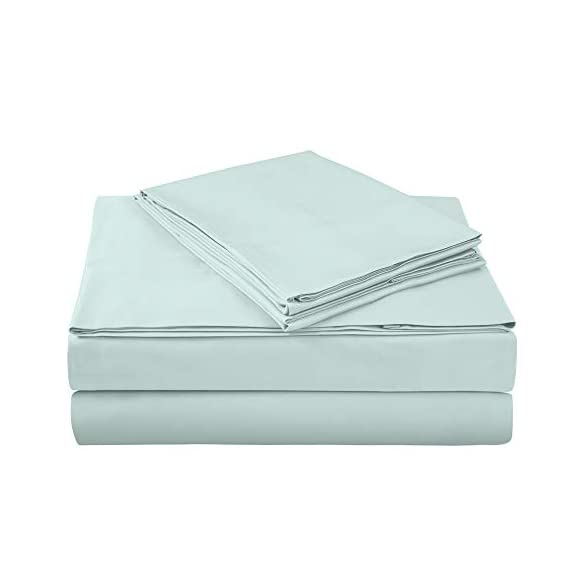 "400 Thread Count 100% Cotton Sheet Set, Aqua Queen Sheet Set, 4-Piece Long Staple Combed Pure Cotton Best Sheets for Bed, Breathable, Soft & Silky Sateen Weave Fits Mattress Upto 18"" deep Pocket - AXIA offers a 100% Long Staple Cotton Sheet Sets HIGHEST QUALITY BEST COTTON SHEETS: Authentic 400 thread count per square inch, 100% cotton fabric made from long staple fibre and compact yarn with Sateen weave to provide luxurious soft feel with lustre, elegance and comfort. These sheets are fade-resistant and ecofriendly. High quality color dyes for safety & long lasting color fastness; fully elasticized fitted sheet with deep pockets. Product Dimensions - Flat sheet: 90"" x 102""; Fitted Sheet: 60"" x 80"" + 15 "" deep pocket; 2 Pillow Cases: 20"" x 30"" (Standard Pillow Case):- 4 piece Luxury 400 TC sheet set include a flat sheet , fitted sheet and 2 pillow cases in various colour options. - sheet-sets, bedroom-sheets-comforters, bedroom - 31ZImosR vL. SS570  -"