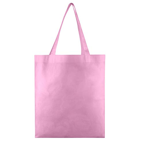 Pink Woven Bag - 25 PACK - Wholesale Non-Woven Tote Bags, Convention Bags, Promotional Bags, NTB10 (LIGHT PINK)