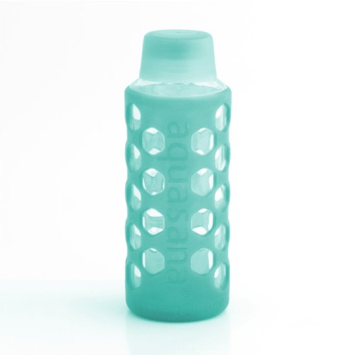 Aquasana AQ-6006-TEAL 18-Ounce Glass Water Bottle with Si...