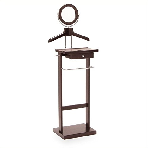 Pemberly Row Valet Stand with Mirror and Coat Racks in Espresso