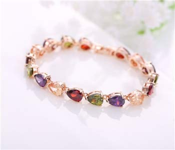 (Value-Smart-Toys - Heart Cut Garnet Stone Inlay Peridot Zirconia Infinate Bracelets Bangles women Luxury Jewelry)