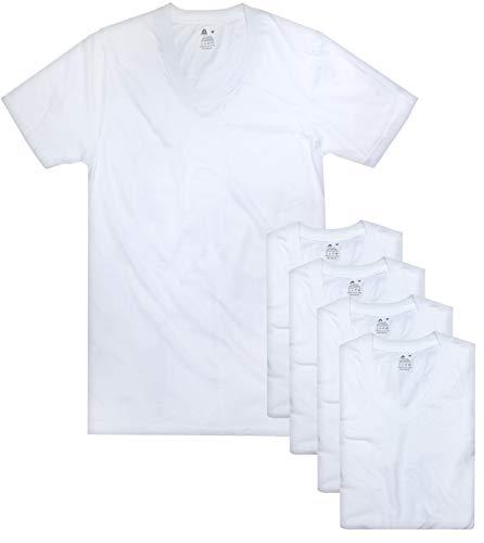 Reebok Men's V-Neck T-Shirt (5 Pack), White, Large