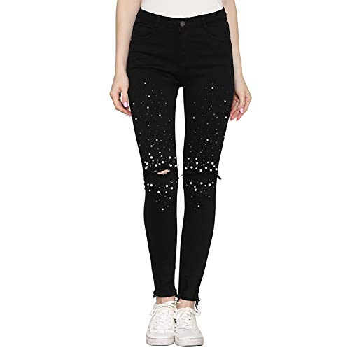 idealister Ripped Slim Fit Stretch Pearl Embellished Jeans Denim Pencil Pants (36, Black Pearl)