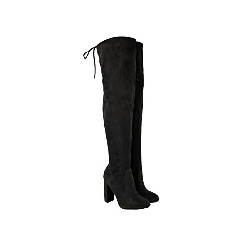 (BS16013-1) - NEW WOMENS THIGH HIGH BOOTS LADIES OVER THE KNEE STRETCH EVENING PARTY BLOCK MID HEEL BOOTS SIZE 3 4 5 6 7 8 Black AYLAC55