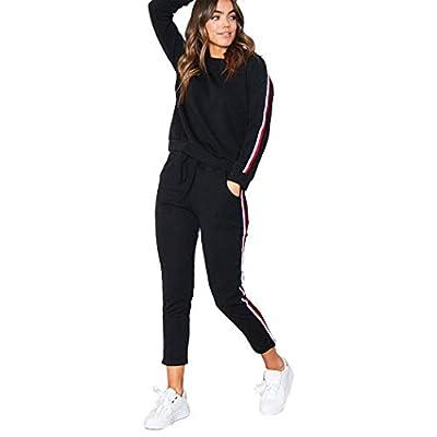Fanxis Women 2 Piece Sport Suits Active Top Bottom Sets, Sweatshirt + Pants Tracksuits