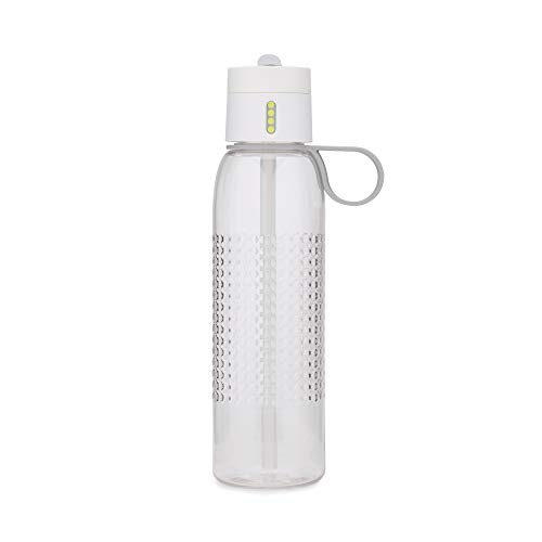 Joseph Joseph Dot Active Hydration-Tracking Bottle with Carry Loop and Straw Counts Water Intake On Lid, 25 oz, White