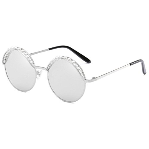 Mode Inlefen Perle Vintage Argent Blanc Ronde Femmes Rond MétalFrame Lunettes de Soleil UV400 Ombres AfBFfx