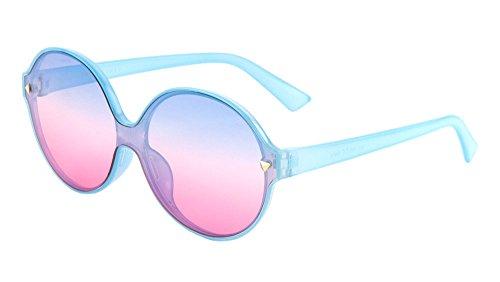 Womens Fashion Cat Eye Sunglasses Mono Block One Piece Lens (145mm-Blue, - Kardashian Sunglasses Eye Cat