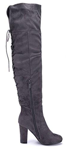 Schuhtempel24 Damen Schuhe Overknee Stiefel Stiefeletten Boots Trichterabsatz 10 cm High Heels Grau