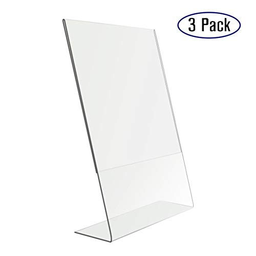 Ludery 8.5 X 11 Acrylic Sign Holder Slant Back Clear Table Signle Sheet Frames - 3 Pack (3) ()