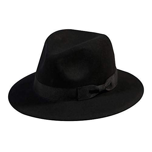 Wool Fedora Hat-Women's Felt Floppy Panama Hats Vintage Classic Ladies Wide Brim Cap's Band Accent (Black) ()
