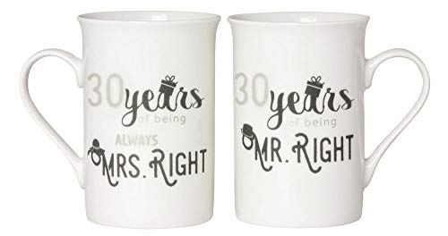 Designer 30th Anniversary Mr Right & Mrs Always Right Mug Gift Set by Haysoms ()
