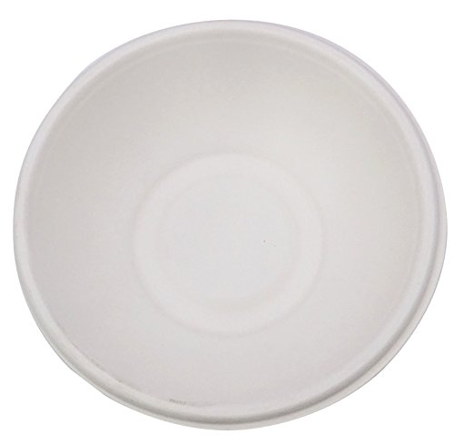Papery Disposable Round Party Bowls Tree Free Compostable Bagasse Sugarcane Fiber Dishes, 180ml 50 Pcs