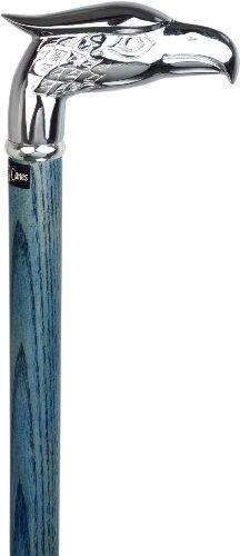 agle Head Handle Walking Cane With Denim Blue Ash Wood Shaft & Silver Collar ()