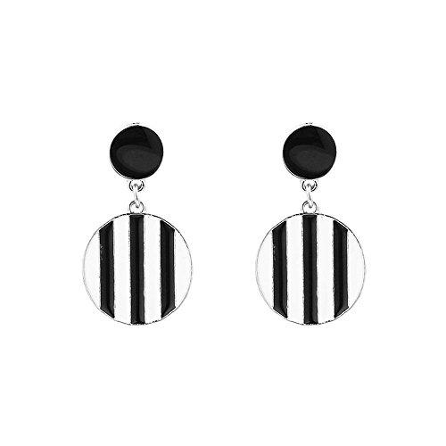 JUESJ Black White Striped Pendant Earrings - Retro Cute Striped Ball Checkered Circle Tag Pendant Earrings (Silver) ()