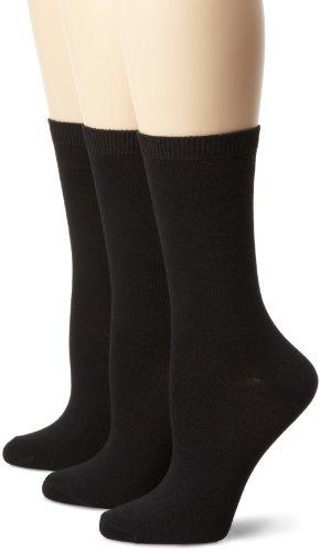 Nine West Womens Solid Flat Knit Crew 3 Pair Sock  Black  Size 9 11