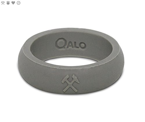 Womens Cement (QALO Women's Cement Grey Classic Q2X Silicone Ring, Size 9)