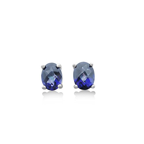 Royal Blue Topaz Stud Earrings - 2 CT Total, Claw Set in 925 Sterling Silver Post (Blue Royal Checkerboard)